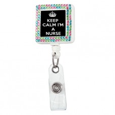Keep Calm Nurse Square Plastic Badge Reel with Crystals