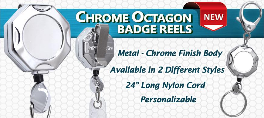 chrome octagon id badge retractable reels